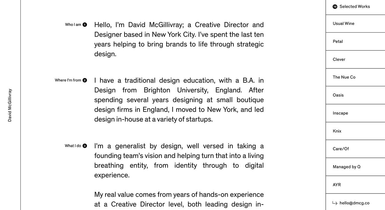 David McGillivray's portfolio site.