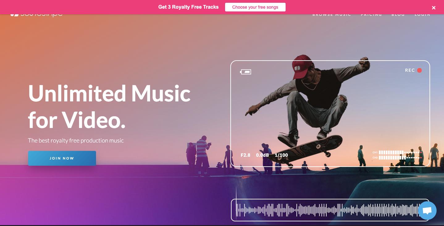 Soundstripe homepage.