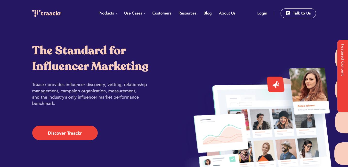 Traackr homepage.