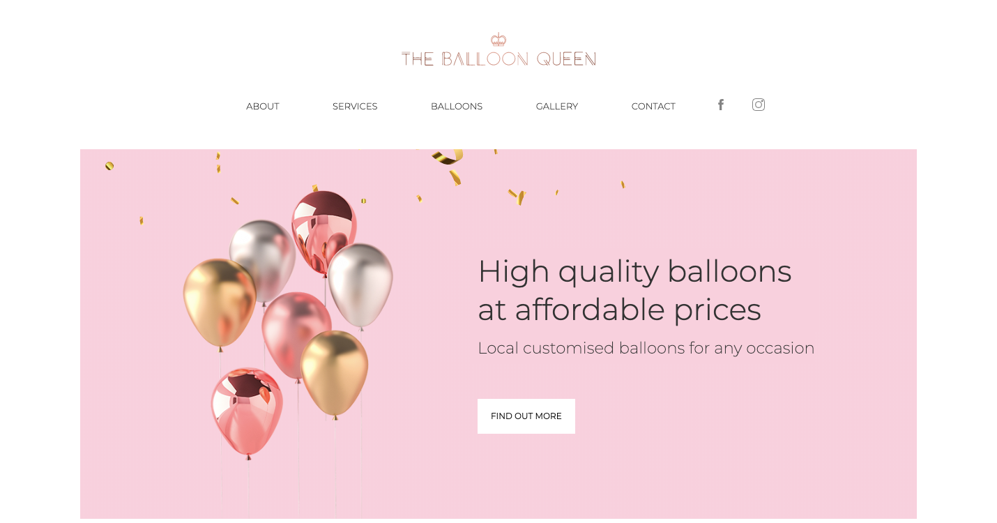 The Balloon Queen homepage.