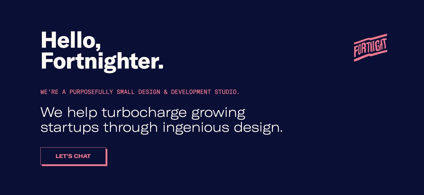 Fortnight Studio homepage.