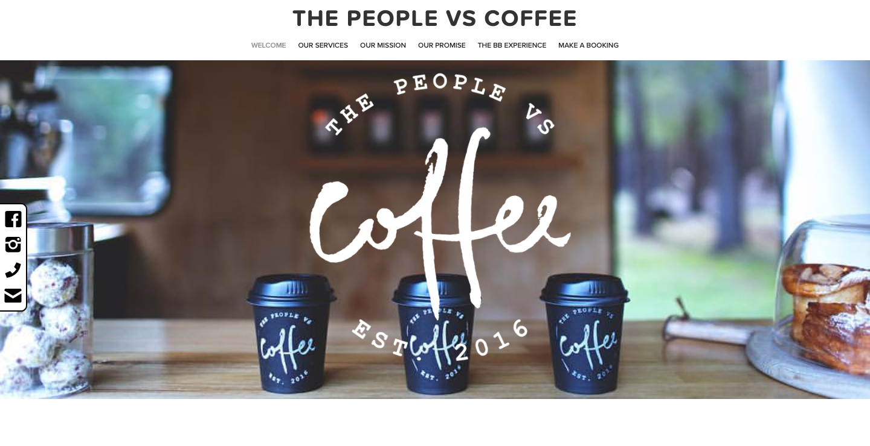 The People Vs Coffee homepage.