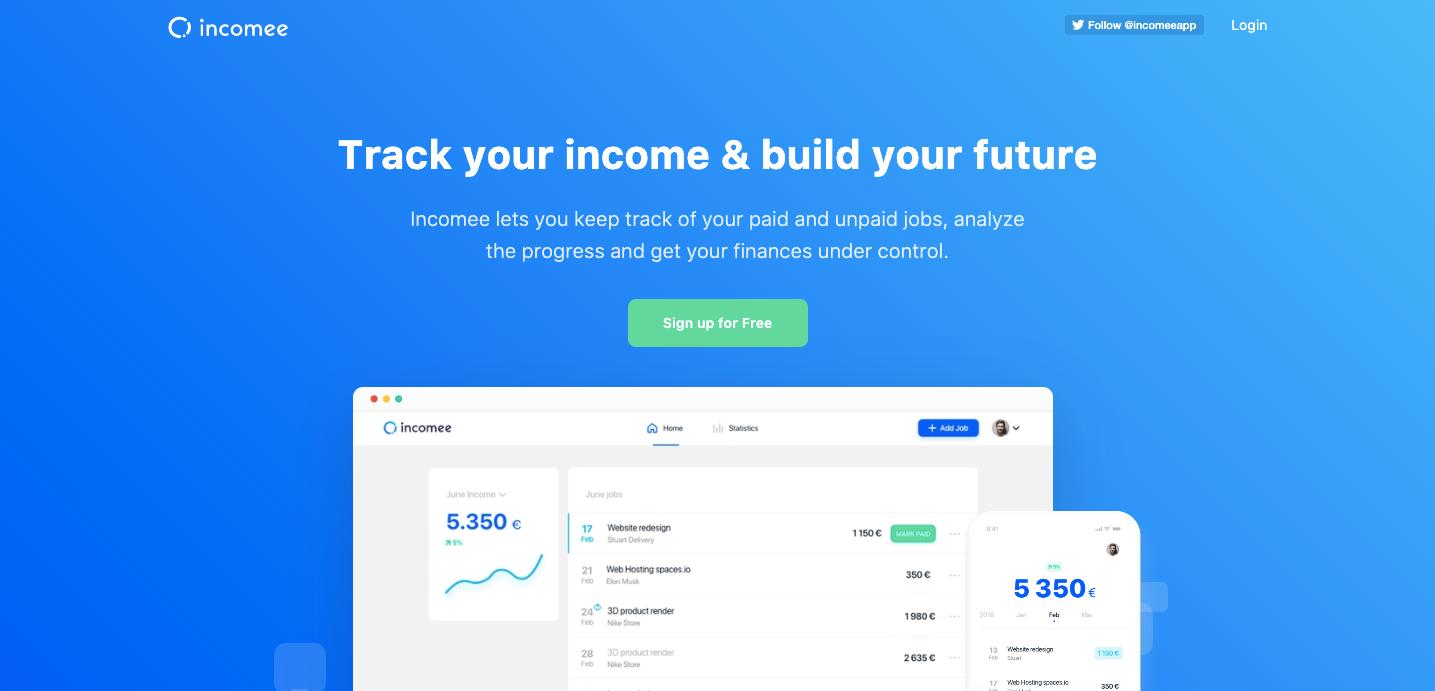 Incomee homepage.