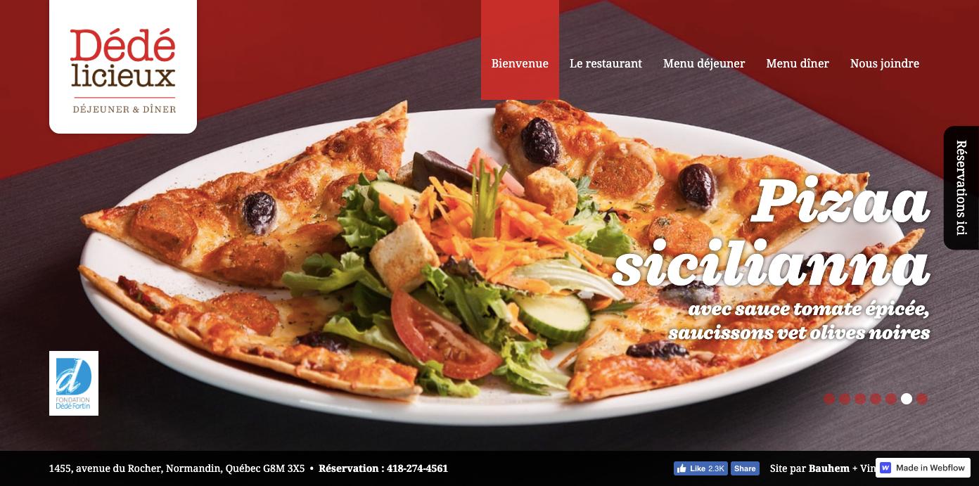 Dede licieux restaurant homepage.