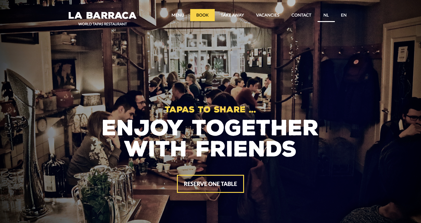 La Barraca restaurant homepage.