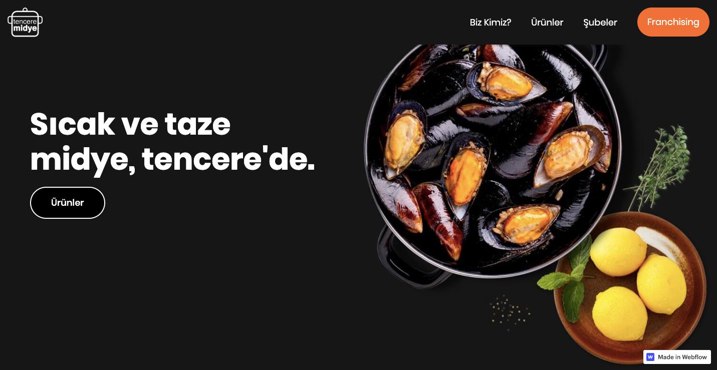 Tencere midye restaurant homepage.