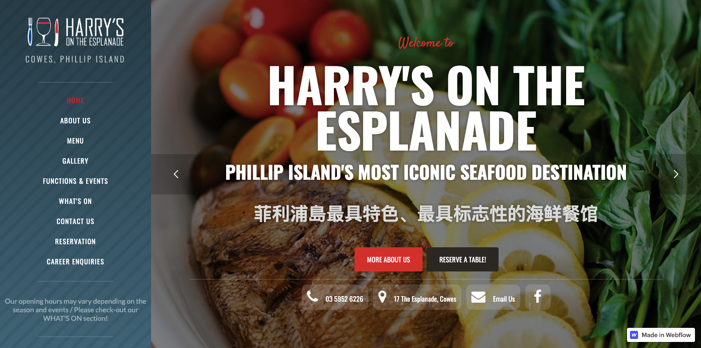 Harry's on the Esplanade restaurant website.