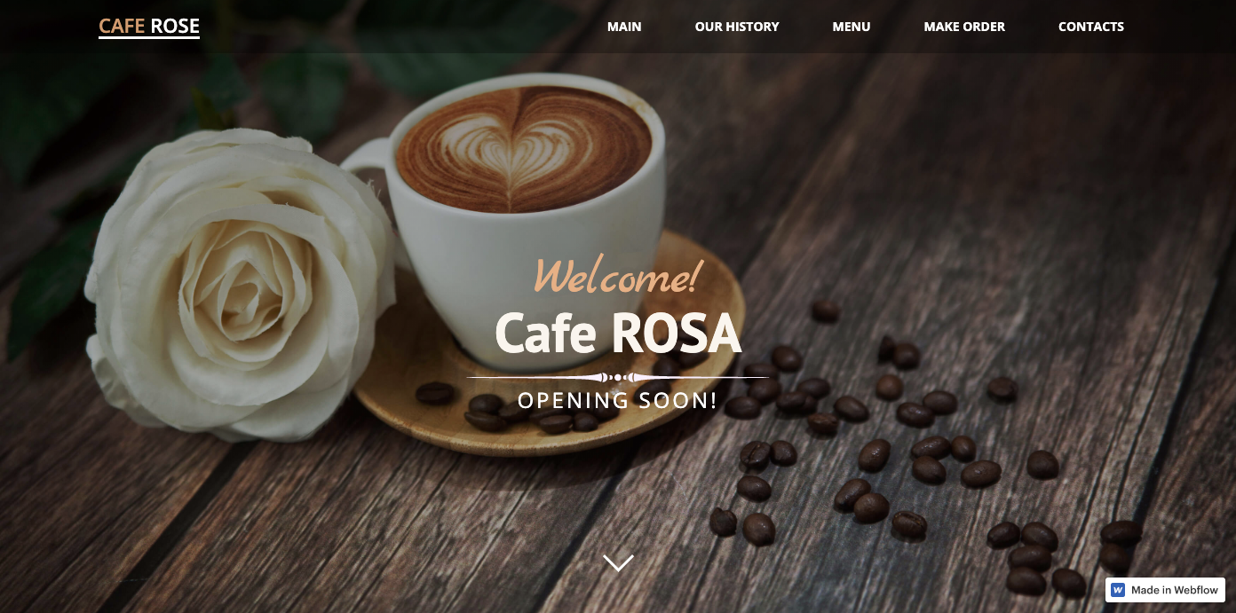 Cafe Rosa restaurant homepage.