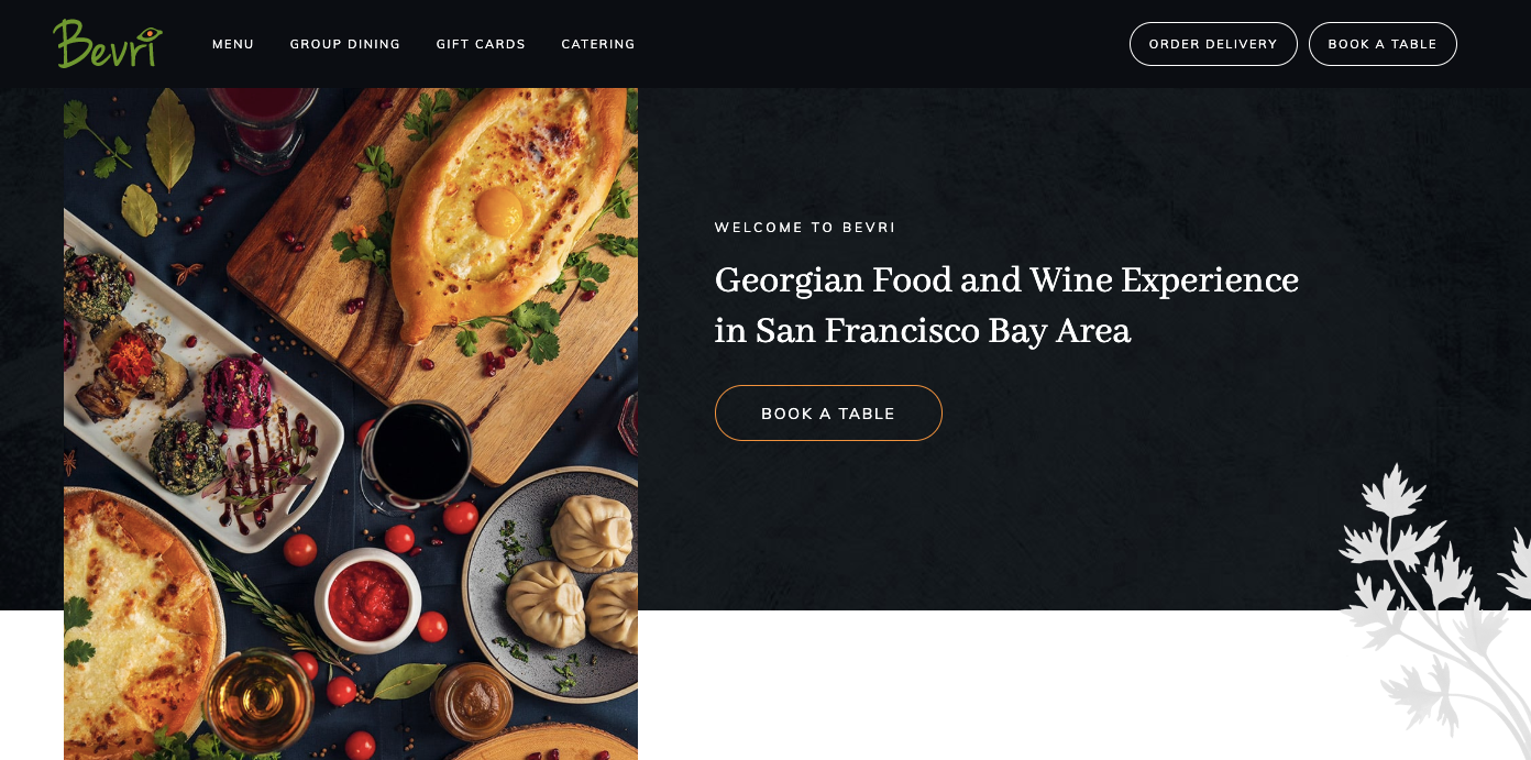 Bevri restaurant homepage.