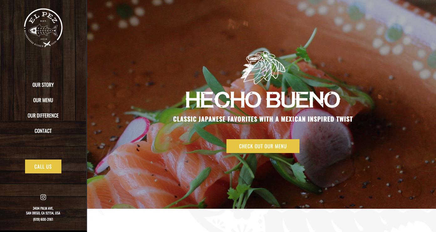 El Pez restaurant homepage.