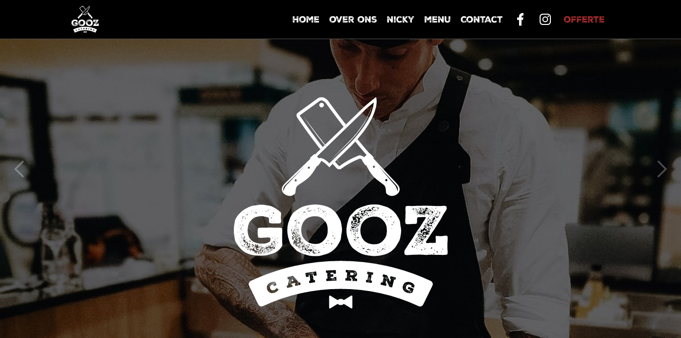 Gooz catering restaurant homepage.