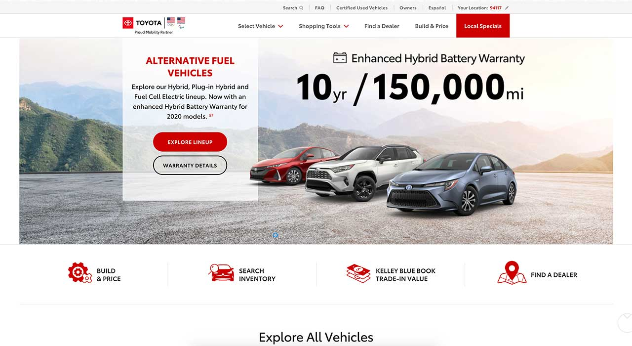 toyota website layout