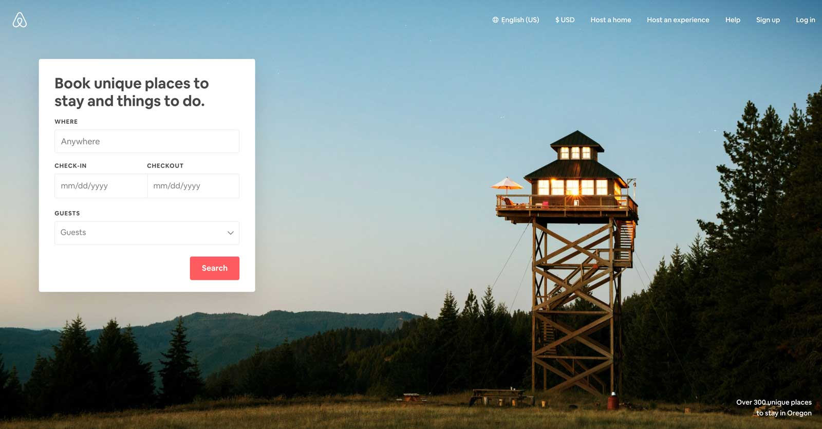 airbnb homepage design