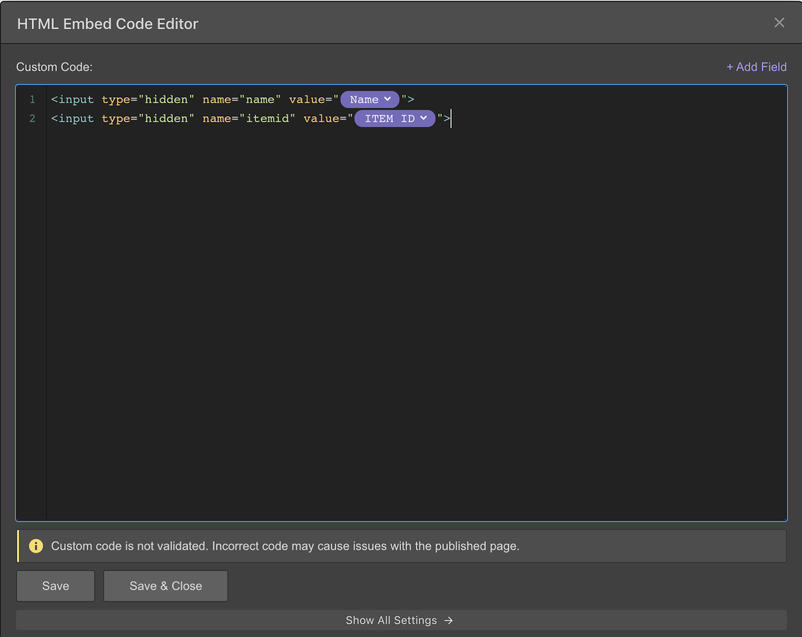 html embed code editor