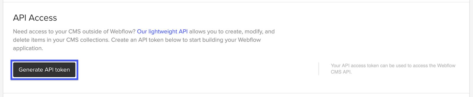 webflow generate api token