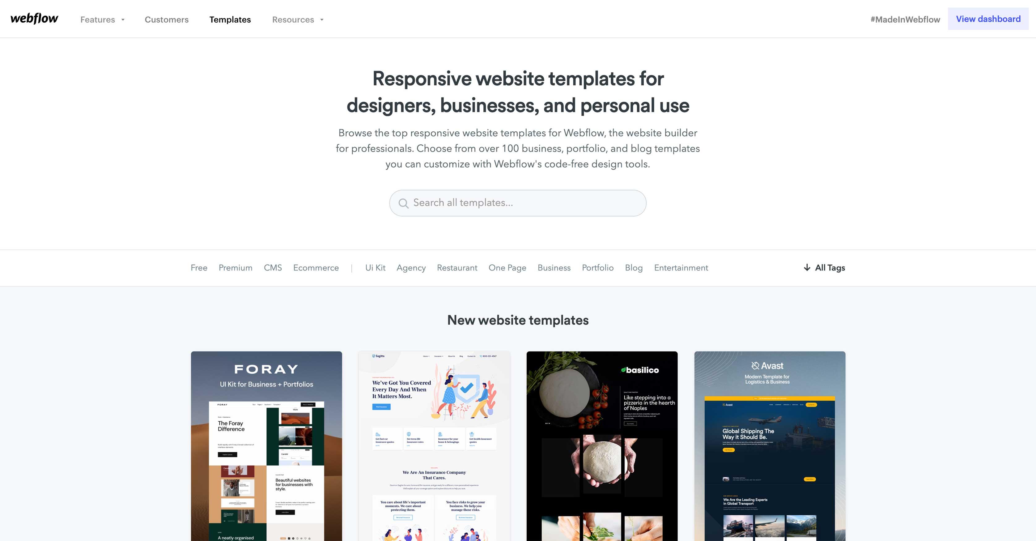 webflow template marketplace