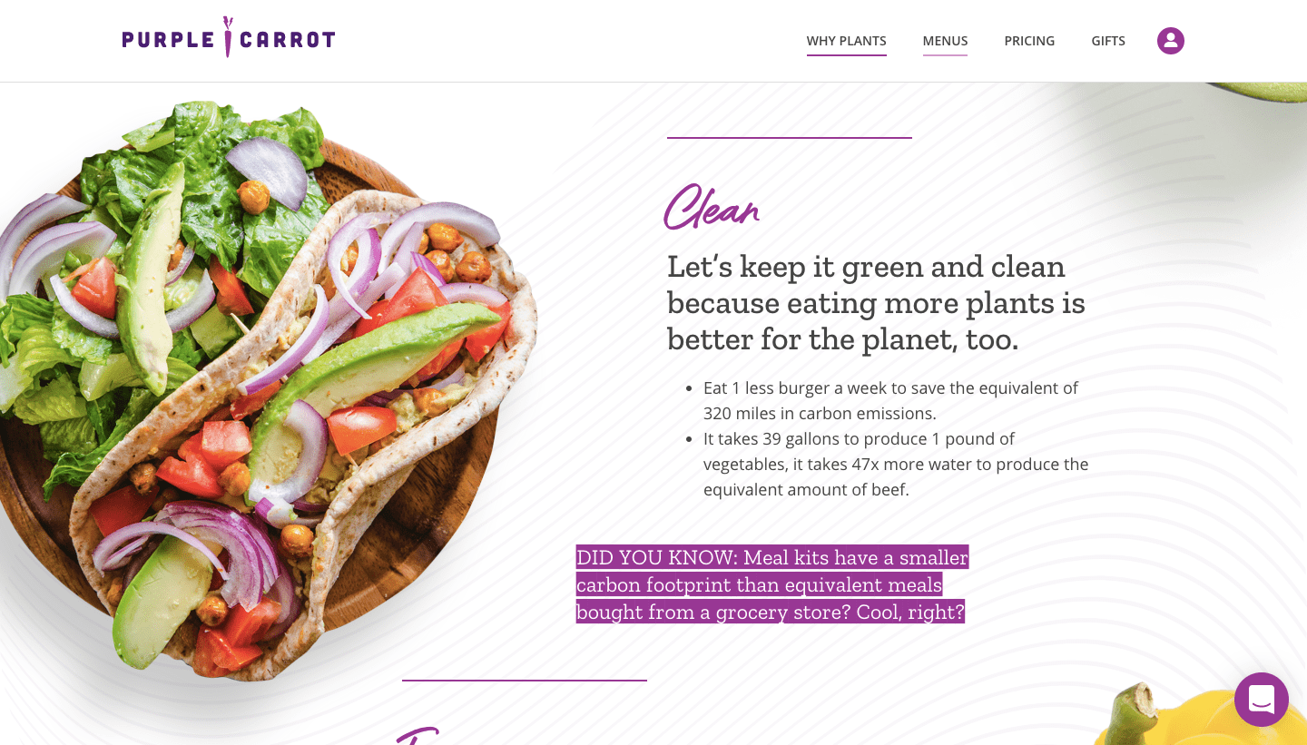 purple carrot homepage