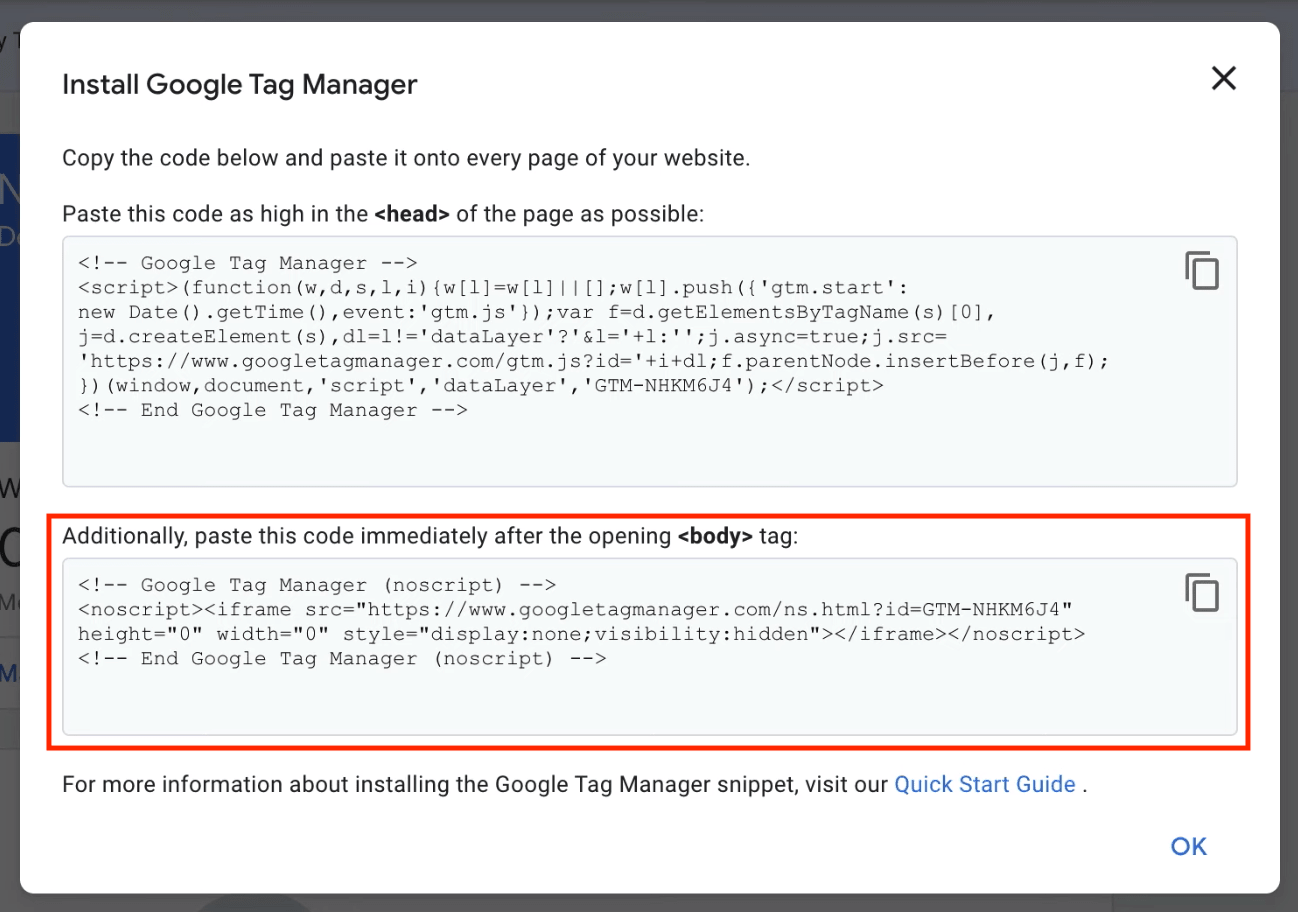 install google tag in body