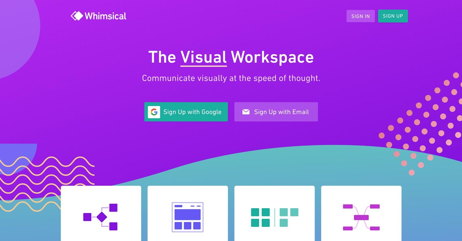 whimsical's visual workspace
