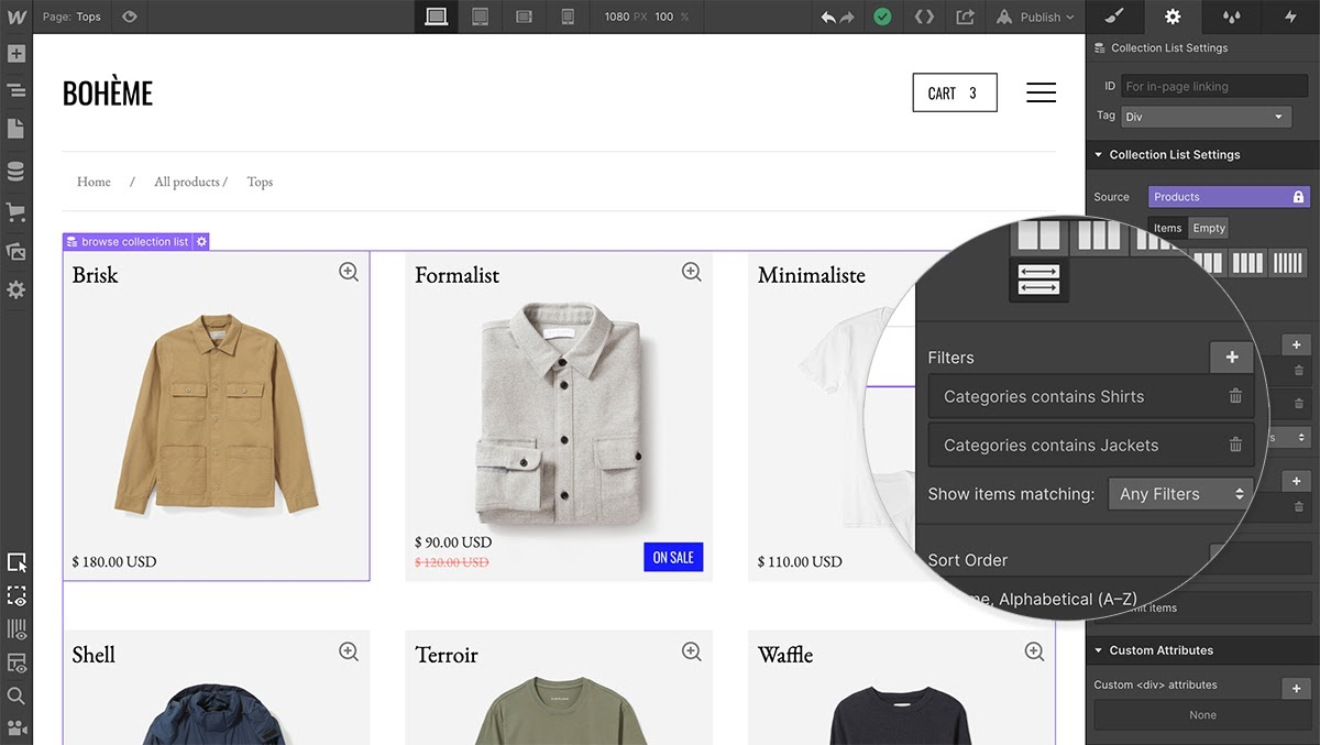 webflow ecommerce product filtering