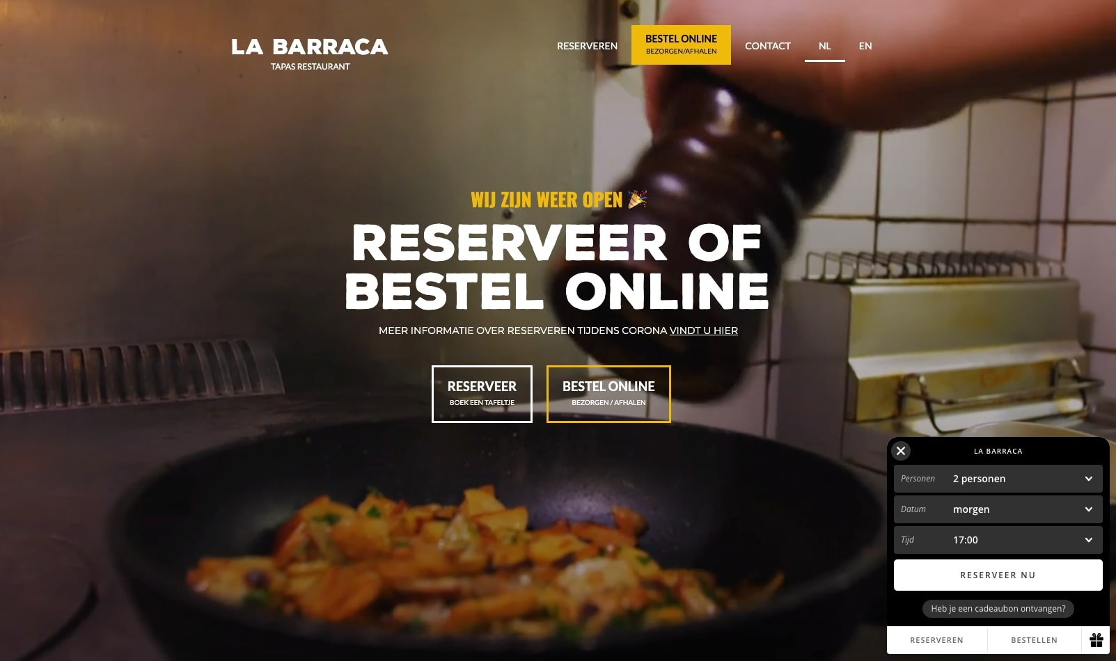 La Barraca restaurant homepage