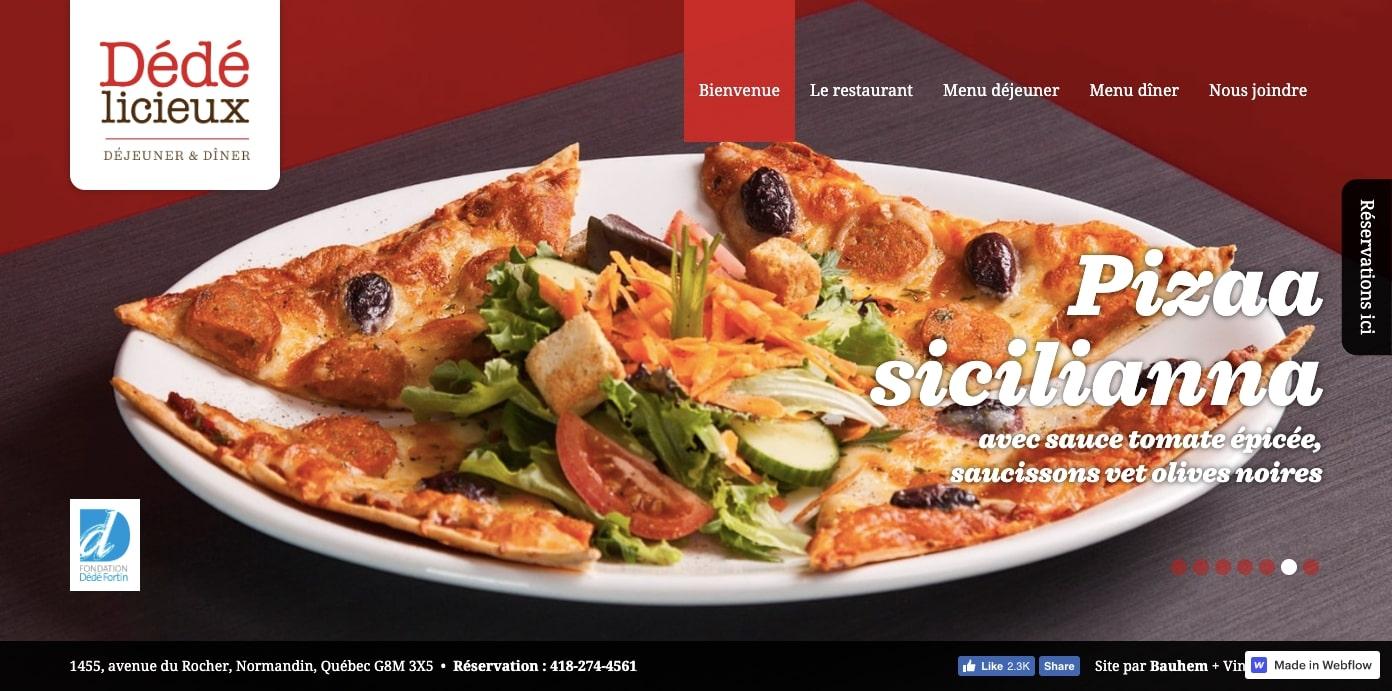 Dédé licieux restaurant homepage