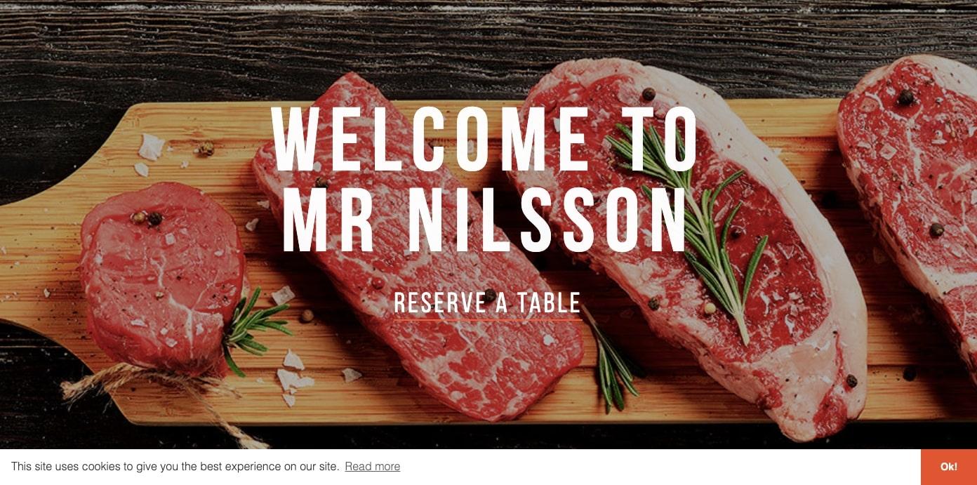 Mr. Nilsson restaurant website