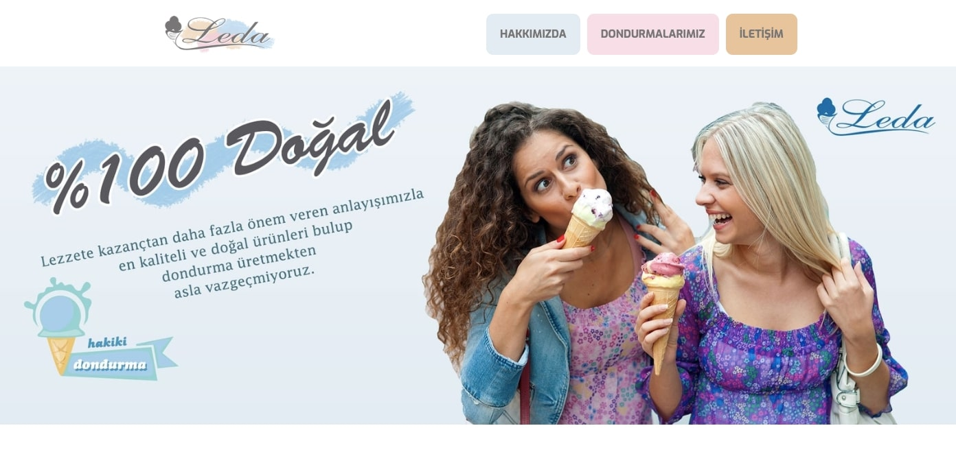Leda ice cream restaurant homepage