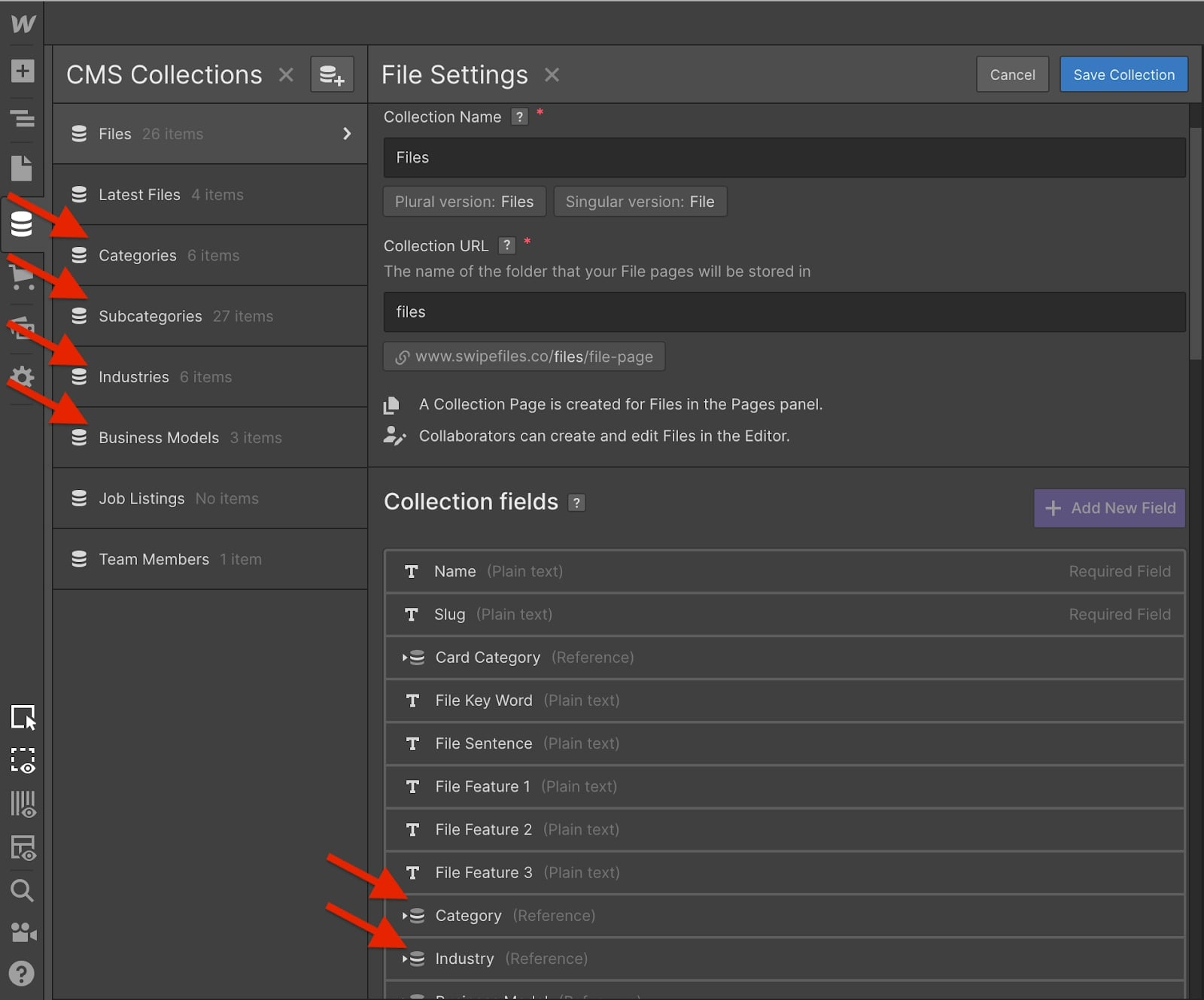webflow cms collection settings