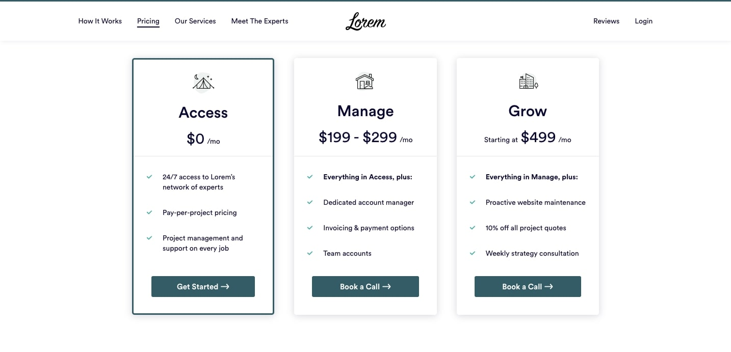 lorem pricing page