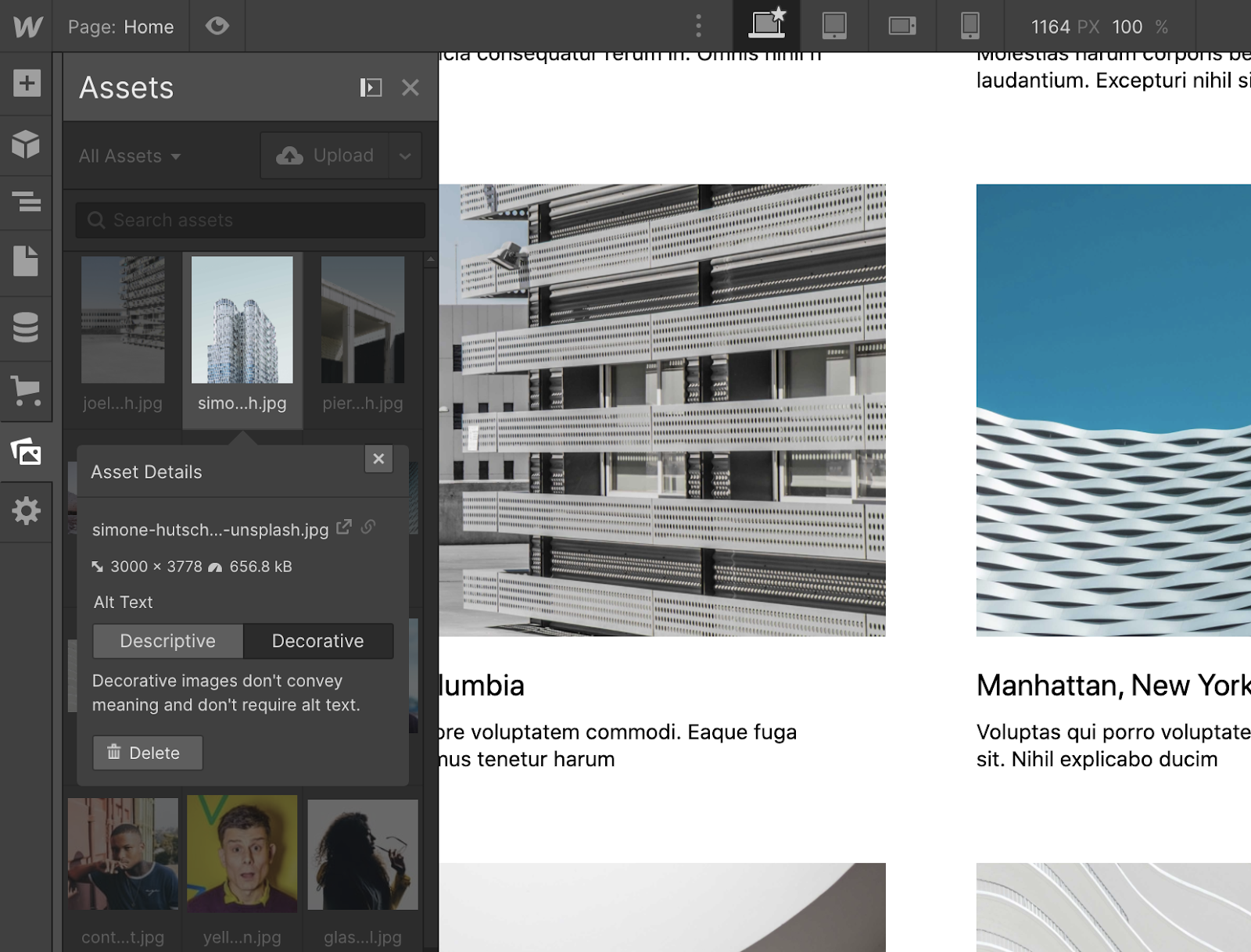 Set default image alt tags directly in the asset manager.