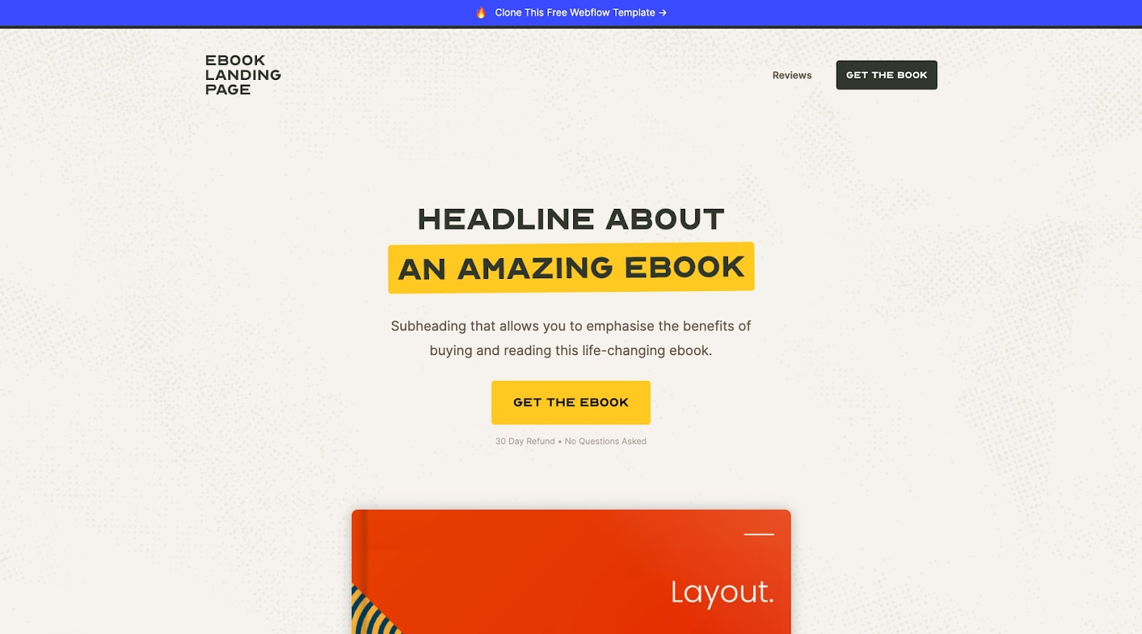 ebook landing page website