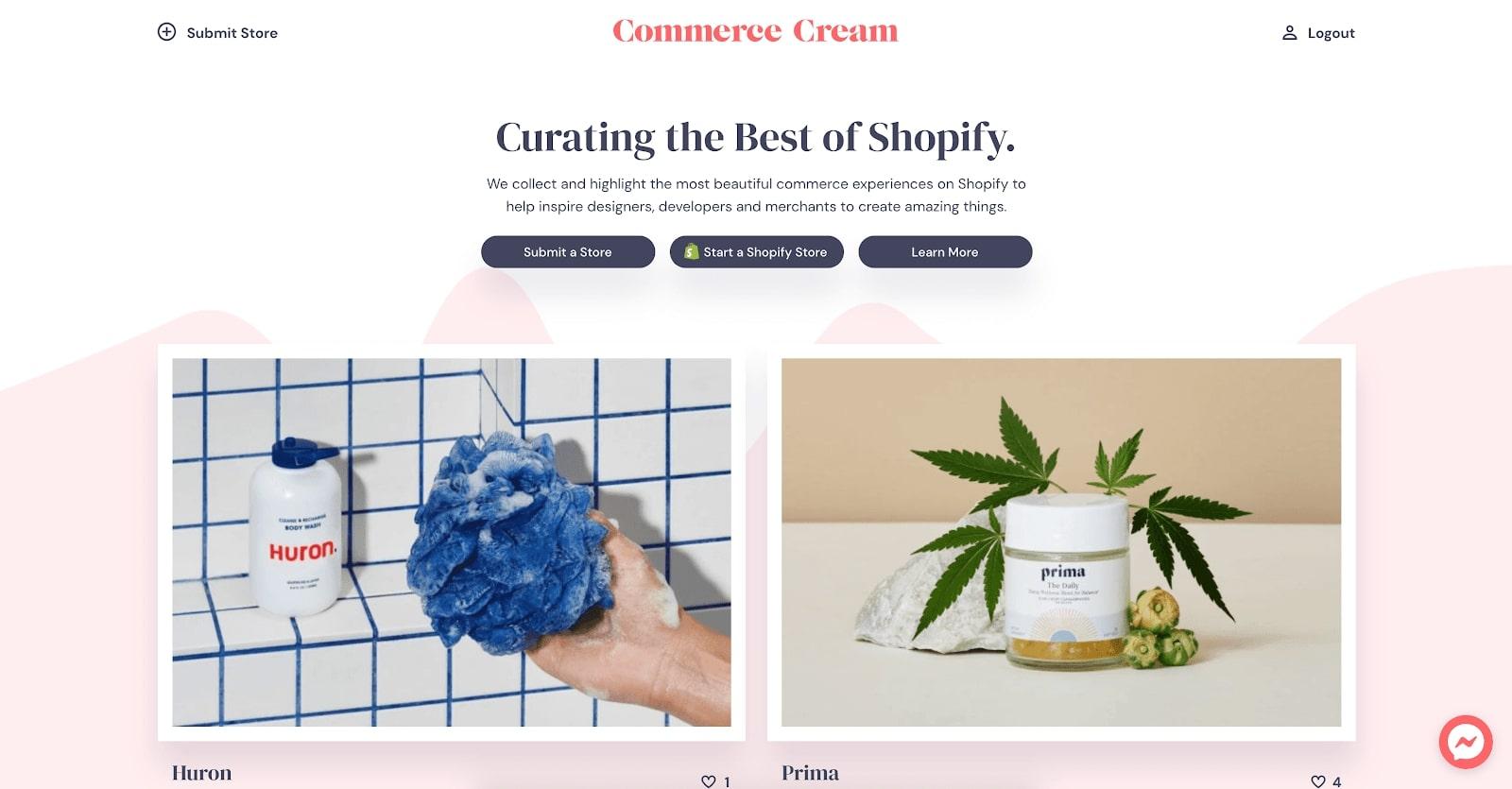 commerce cream shopify web designs