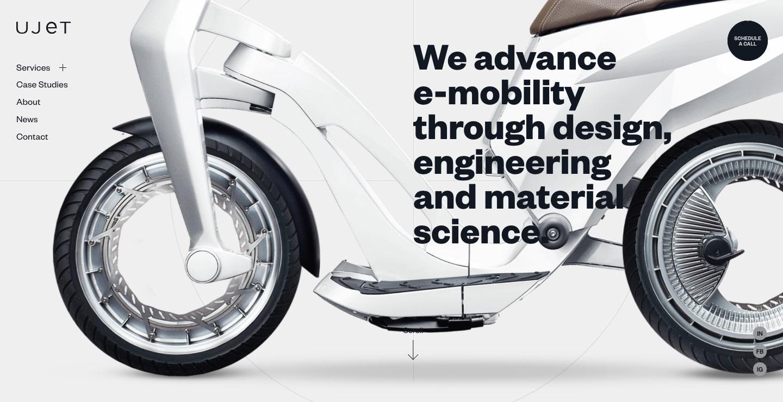 ujet website's typography