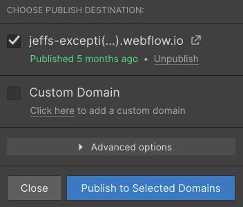 webflow publish website settings