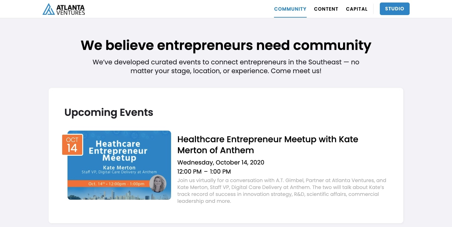 screenshot of Atlanta Ventures' website