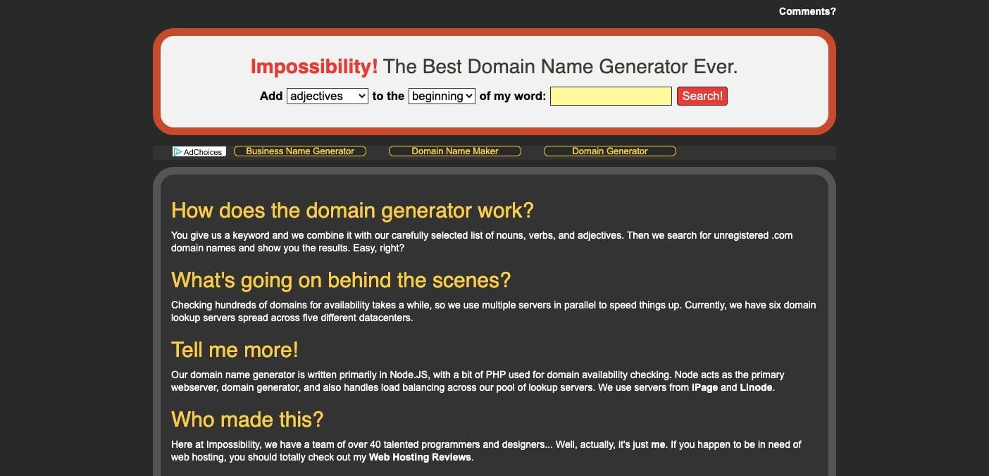 impossibility domain generator