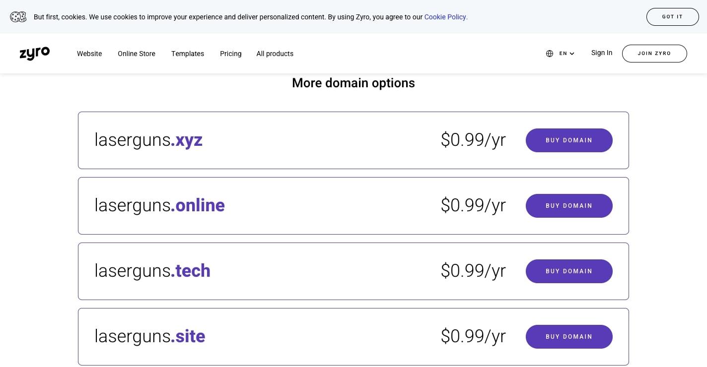 zyro domain search