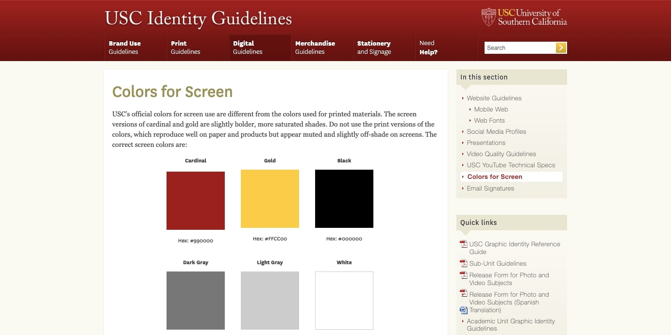 USC's identity guidelines