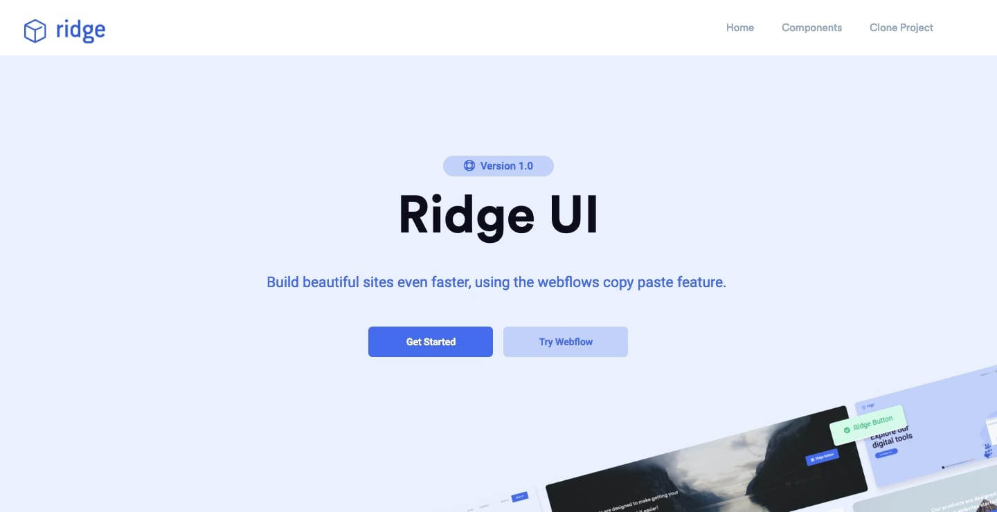 Ridge UI Webflow showcase page