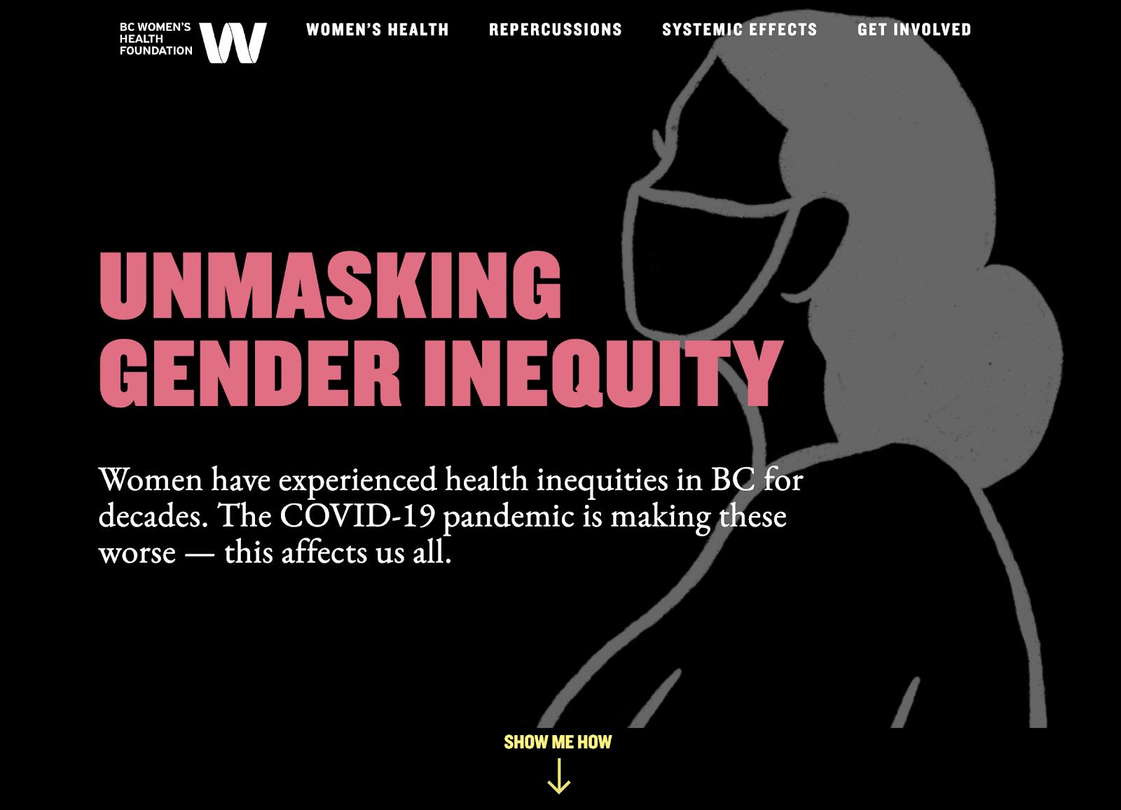 Screenshot of Unmasking Gender Inequity's homepage