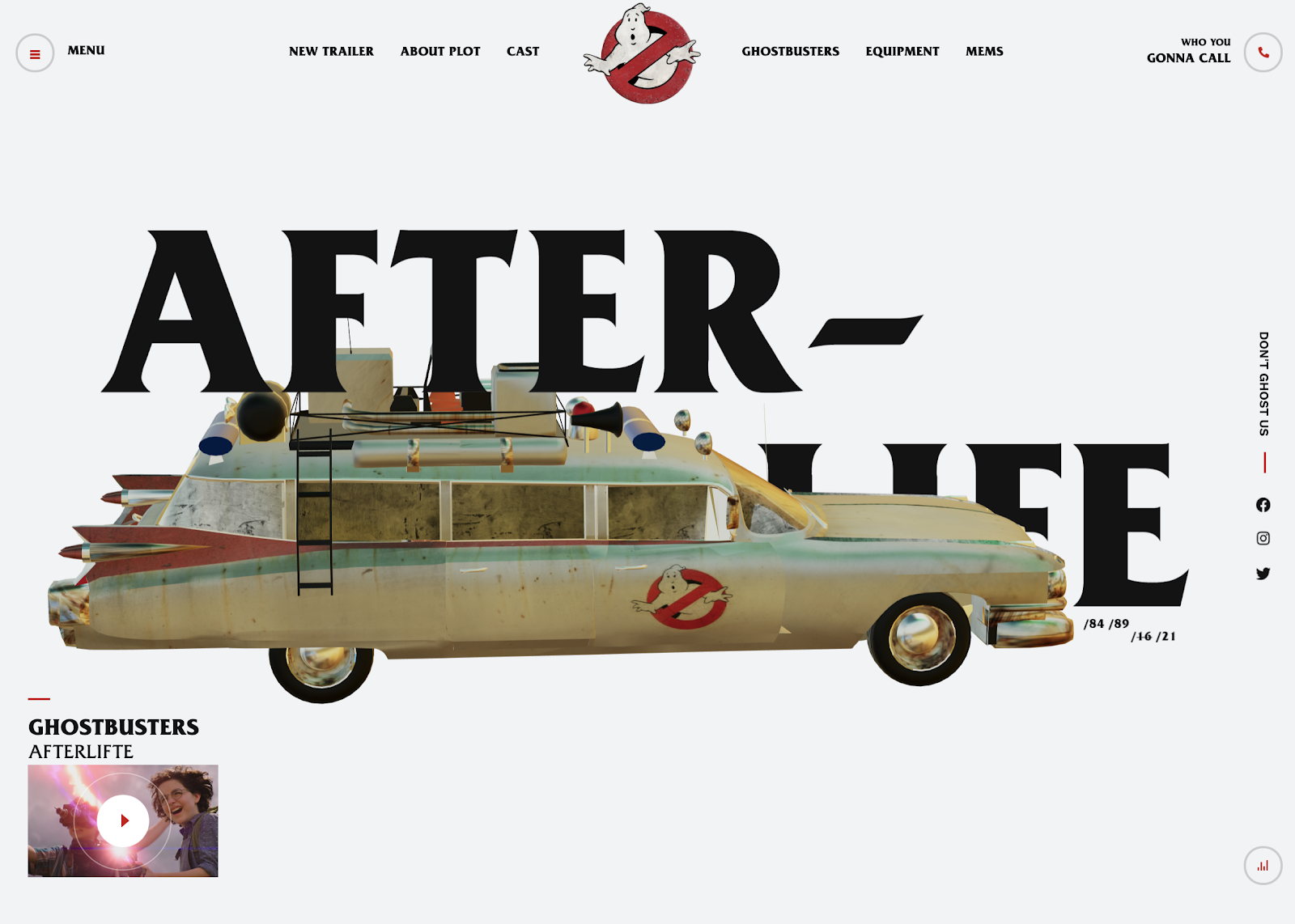 Screenshot of the unofficial Ghostbusters: Afterlife website