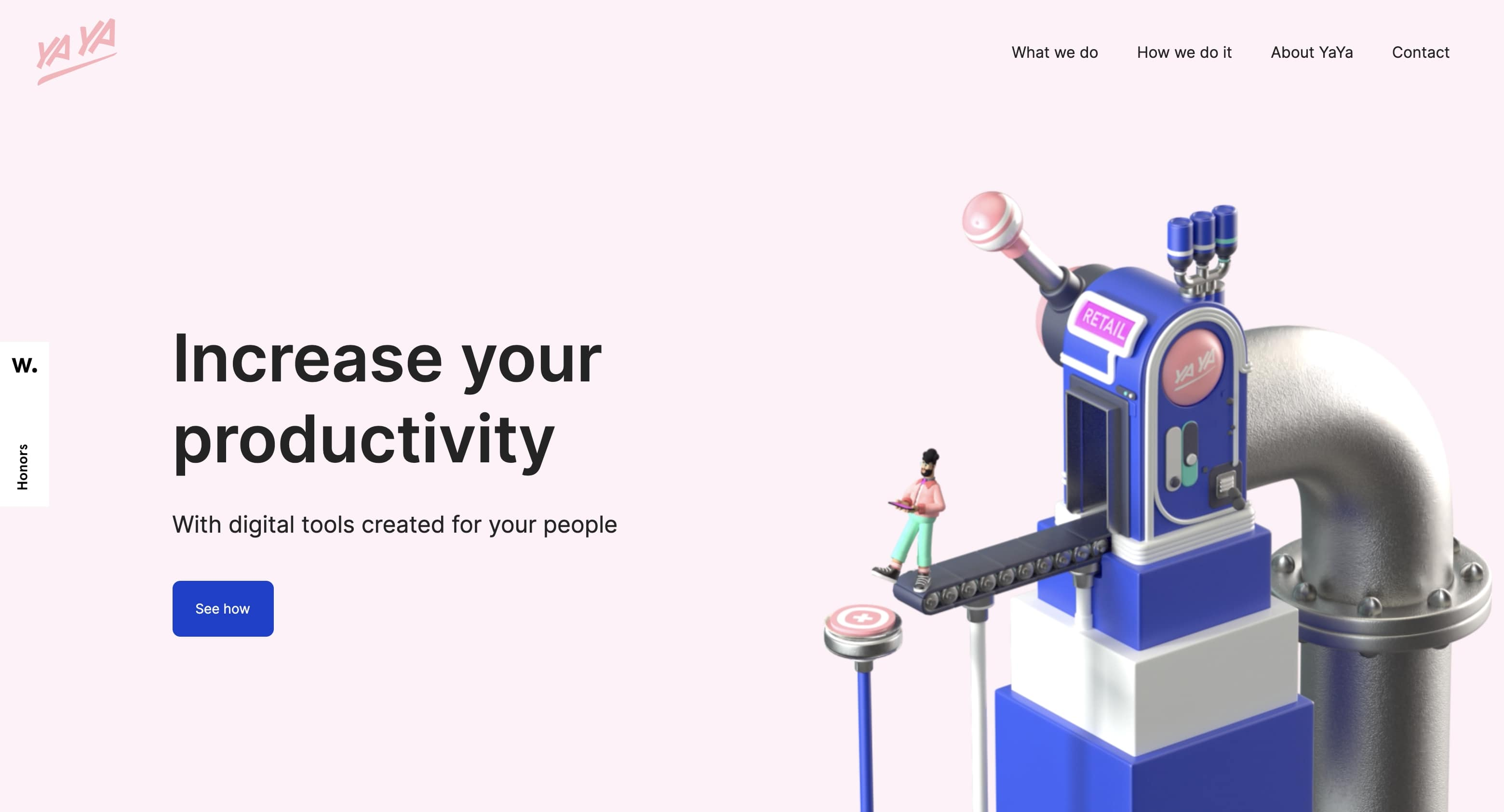 Yaya's home page hero highlights a detailed 3D illustration depicting a person interacting with a futuristic manufacturing machine.