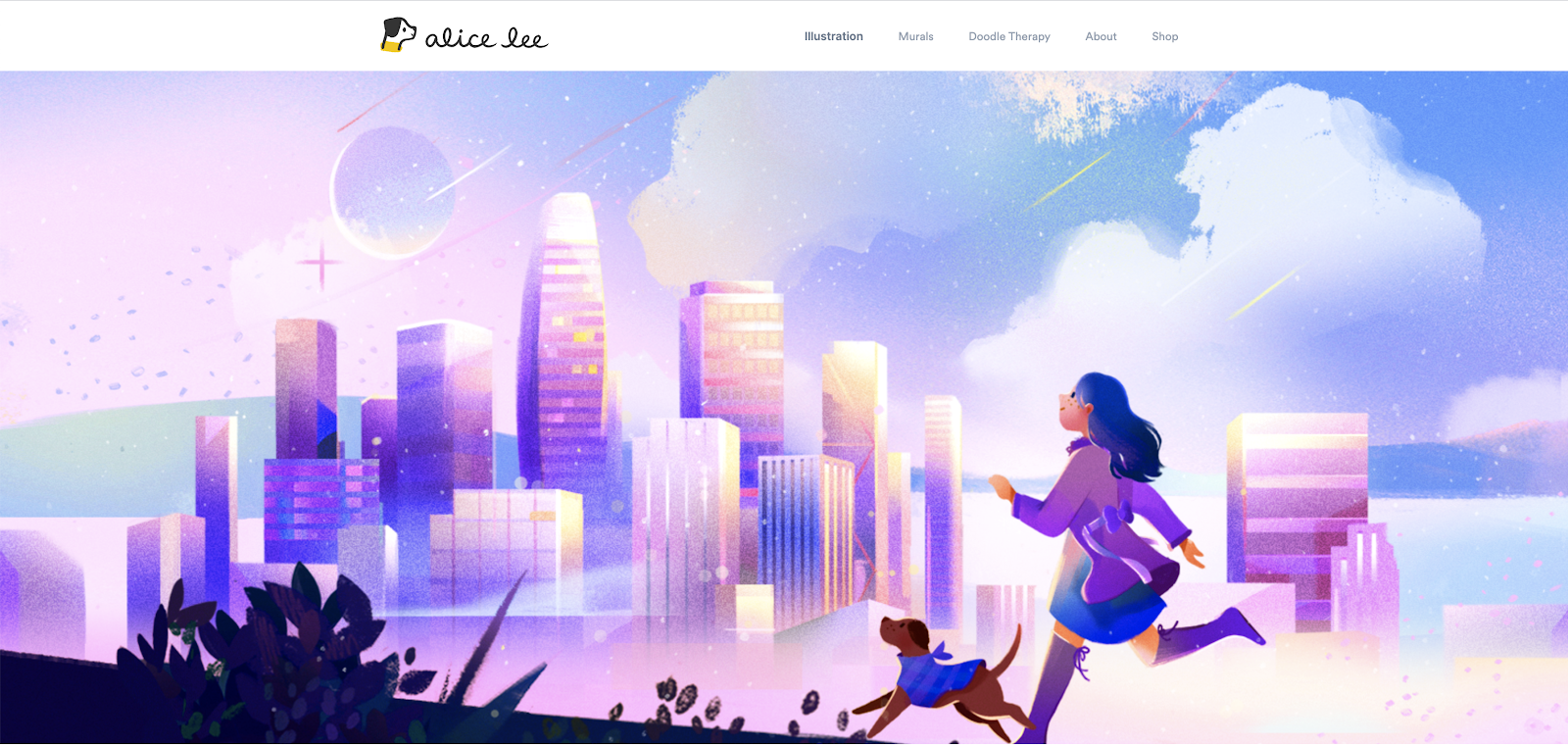 Alice Lee's home page uses subtle parallax scroll to bring one of her illustrations to life.