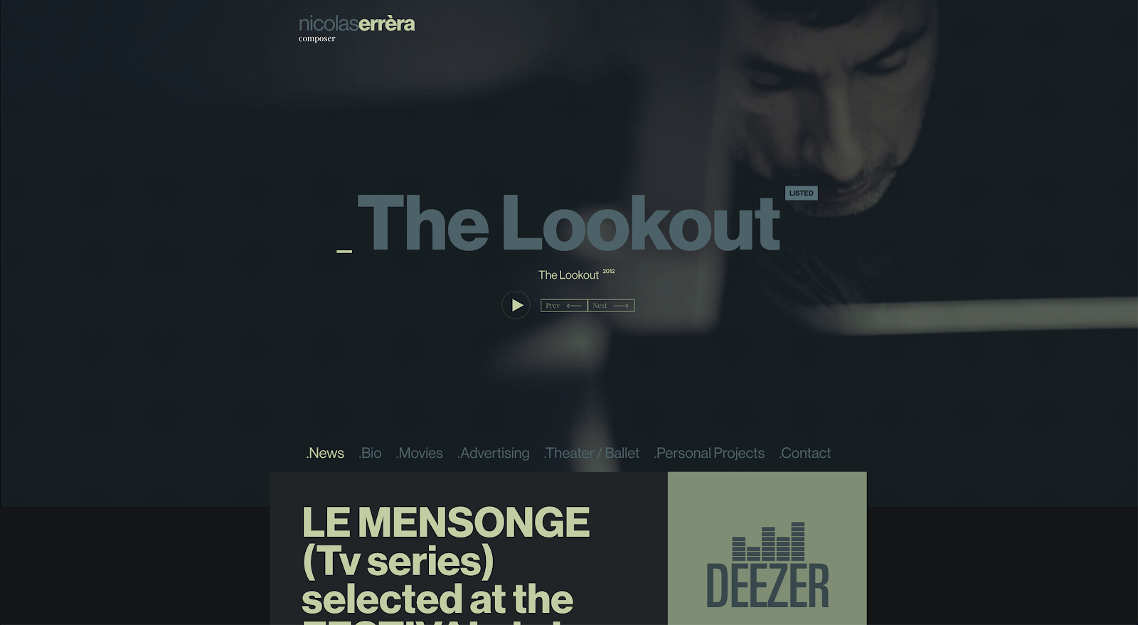 Nicolas Errera's website hero incorporates a beautiful full-width video with full user playback controls.