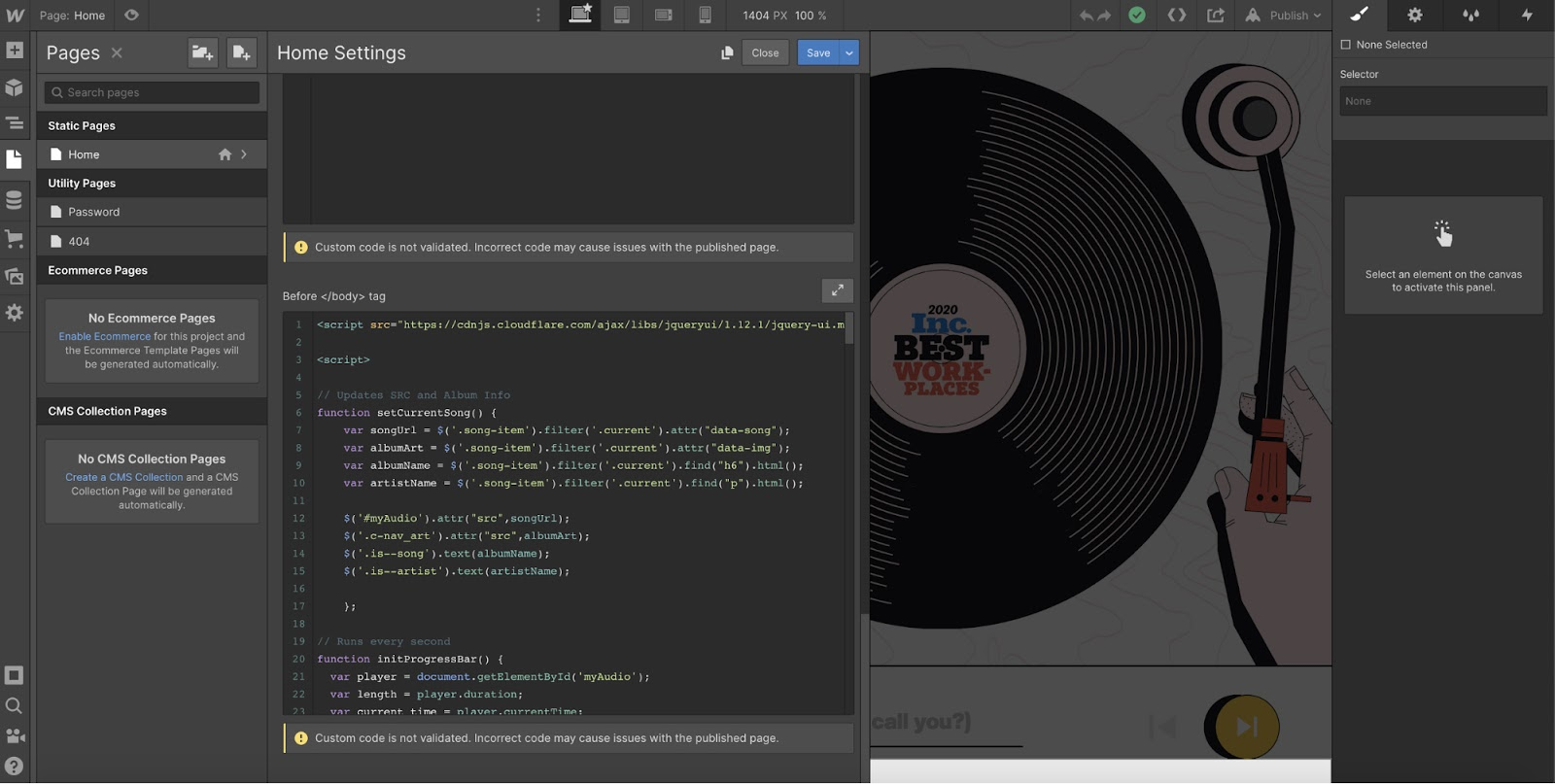 adding custom code in webflow designers