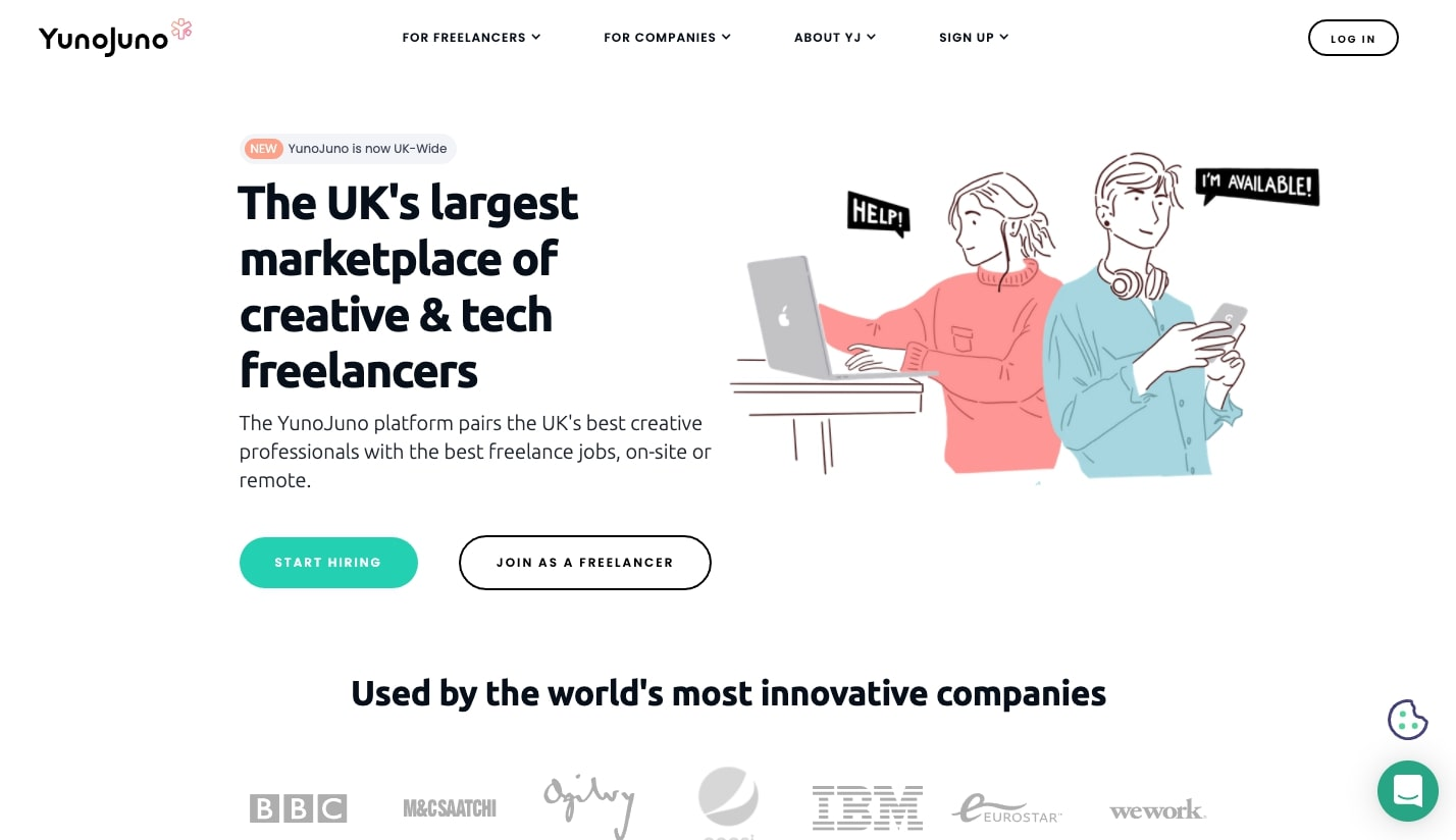 YunoJuno UK-based freelancing website
