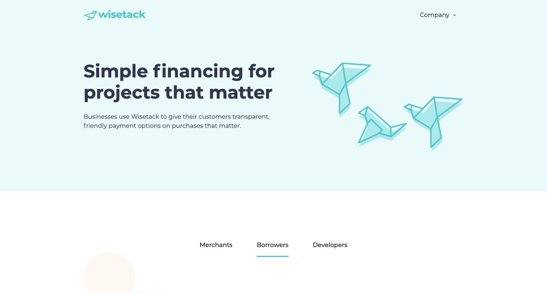 wisetack website homepage