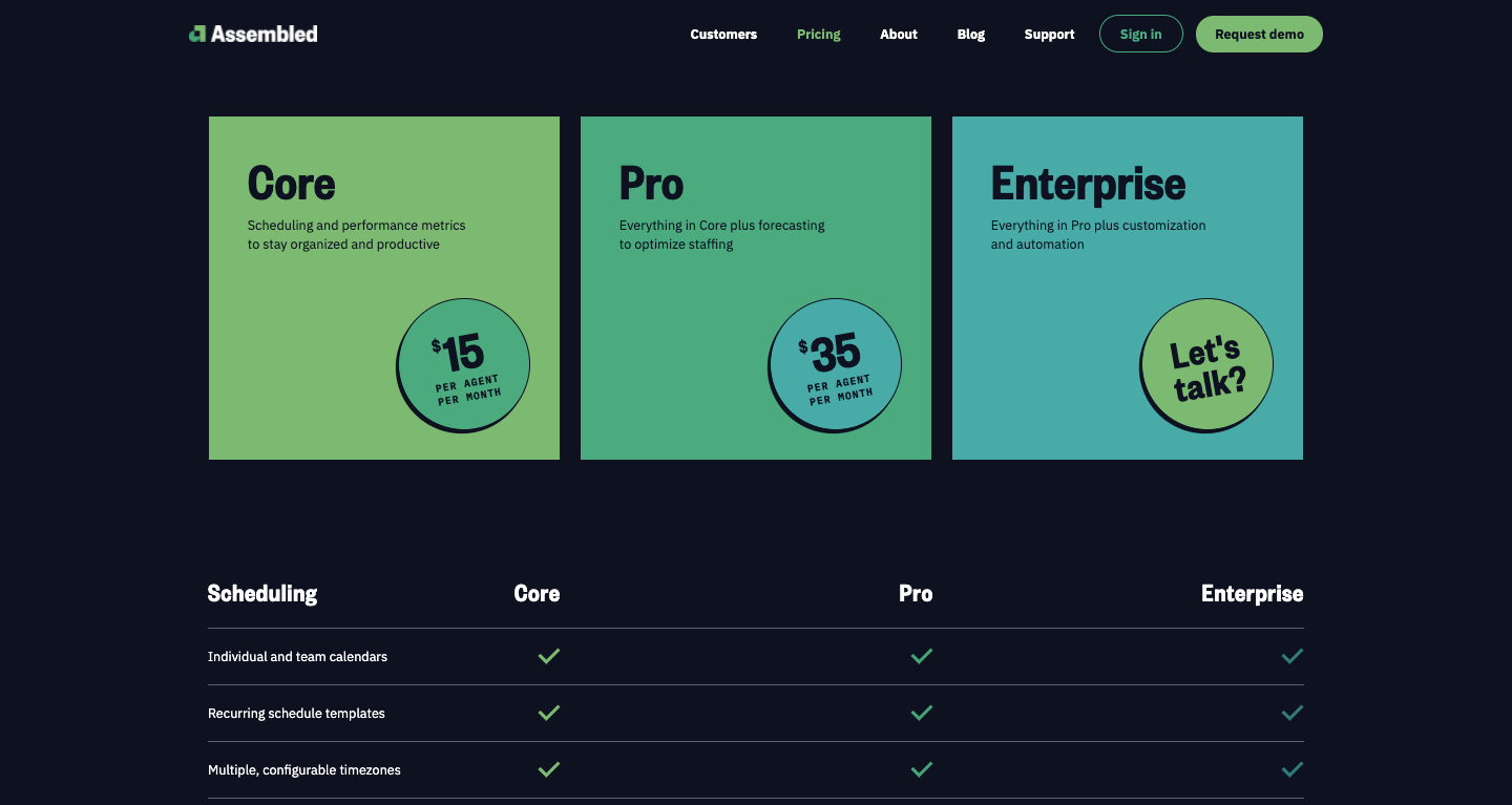 assembled pricing page