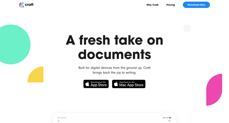 craft website homepage
